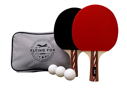 Table Tennis & Ping Pong Paddles Set with Carry Case - Professional Quality Racket with Flared Wood Handle for Novice to Semi-Pro by Flying Fox Paddles by Flying Fox (Image #2)