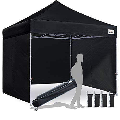 Keymaya 10x10 Ez Pop Up Canopy Tent Commercial Instant Shelter with 4 Removable sidewalls Bonus Weight Bag 4-pc Pack (Black)