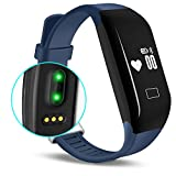 Fitness Tracker with Heart Rate monitor - E3 Activity Watch Step Walking Sleep Counter Wireless Wristband Pedometer Exercise Tracking Sweatproof Sports Bracelet for Android and iOS Blue - EIISON