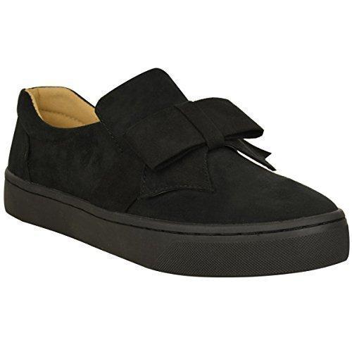 plano mujer Moño Detalle Zapatillas Zapatillas de piel BOMBAS Deslizante Zapatillas Skate Talla - Negro Ante Artificial, 39