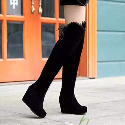 Bottes Sangle Haute 35 Avec Givré Eu De Deed Chaussures Pente Mesdames Pu Hautes Tête Genou TFlK1cJ