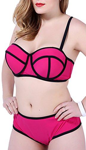 Women's Plus Bright Diving Suit Neoprene Bikini 2 Piece Swimwear Swimsuit Rose Red US L