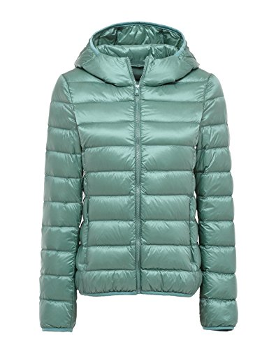 CHERRY CHICK Women's Packable Down Hoodie with Wider Waist (X-Small, Water Blue) (Down Hoodie Womens)