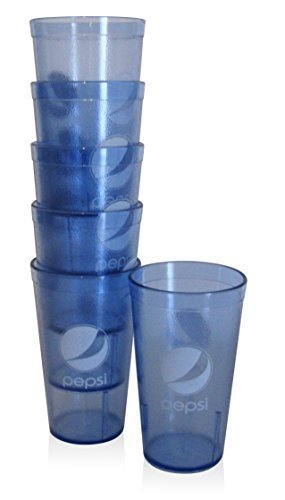 (Carlisel Pepsi-cola Commercial Restaurant Acrylic Drinking Glasses Tumblers Cups (6), Light Blue)