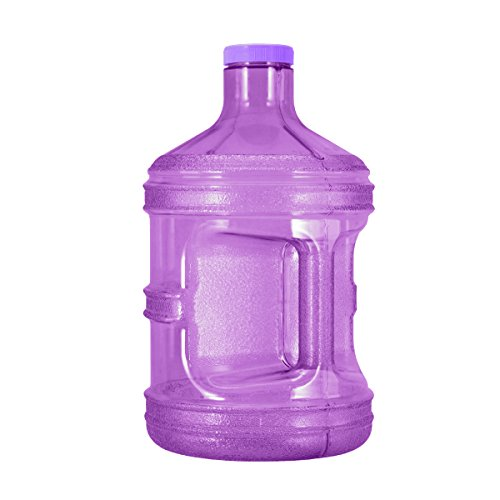 GEO 1 Gallon (128oz) BPA Free Reusable Leak-Proof Drinking Water Bottle w/48mm Screw Cap (Purple) (1 Gallon Bottle 128 Oz)