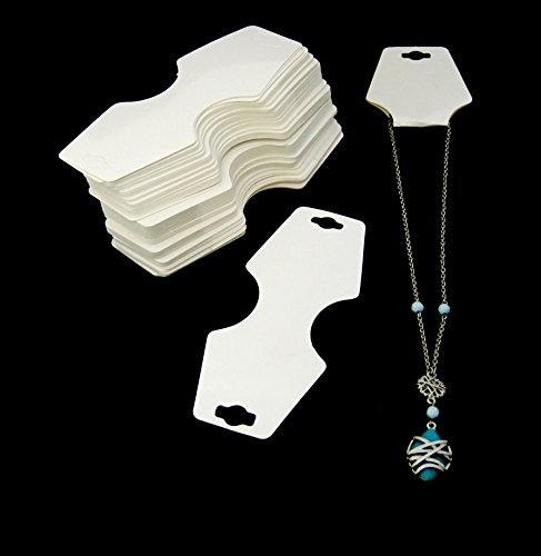 - 100 Pack Of White Necklace/Bracelet Fold Over Cards With Adhesive Strip