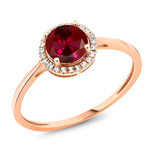 Gem Stone King 10K Rose Gold Diamond Engagement Ring Round Red Created Ruby 1.22 cttw (Size 9)