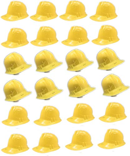 Oojami 24 Piece Child Construction Hats Yellow Soft Plastic Kids Construction Themed Party Favors -