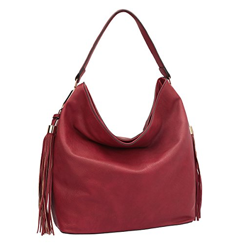 [Dasein Fringe Studded Faux Leather Hobo Bag - Red] (Hobo Purses)