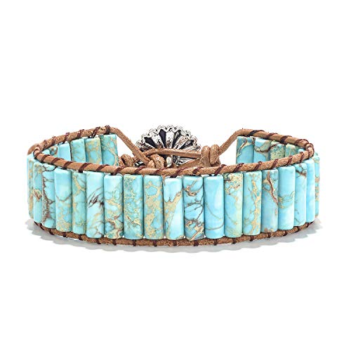 for Women Girls Woven Bracelet Leather Bracelets Charm Bracelet Handmade Turquoise Gemstone Friendship Nature Stone Bracelet Weave Bracelets Wrap Healing Bracelets Yoga Bracelets w/Sunflower Button