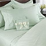 Egyptian Bedding 1500 Thread Count King Siberian Goose Down Comforter 8 PC 1500TC Bed in a Bag, Sage Damask Stripe 1500 TC