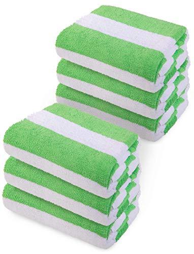 (Premium Super Absorbent Classic Cabana Green Stripe Beach Towel Oversize 30