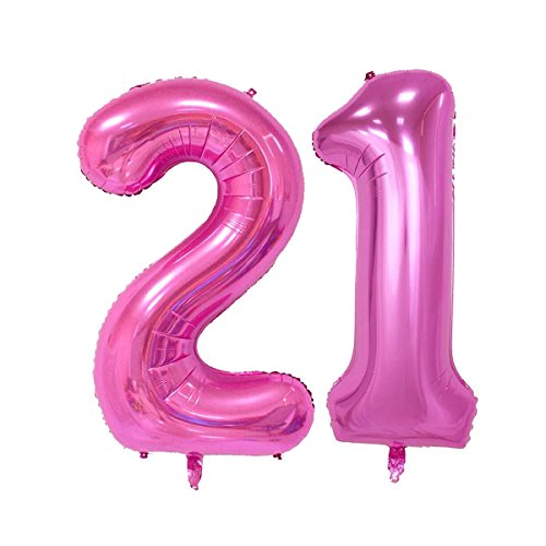 40inch Pink Number 21 Jumbo foil Helium Balloons for Bithday Party Festival Decorations Photo Props (Pink 21)]()