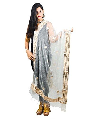 (Decorative White Tissues Organza Dupatta With Gotta Patti Work Fashion Accessory Scarf Chunni For Ladies Girls)