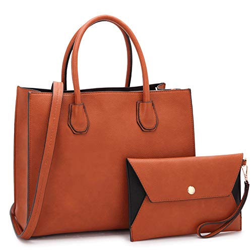 Leather Like Satchel Bag - Dasein Purses and Handbags for Women Satchel Bags Top Handle Shoulder Bag Work Tote Bag With Matching Wallet
