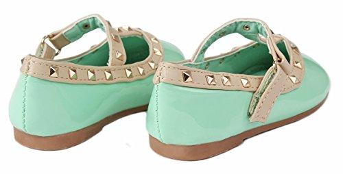 Baby Girls S-6A Teal T-Strap Rivet Studded Mary Jane Infant Toddler Ballet Flat Dress Shoes-7 - Image 3