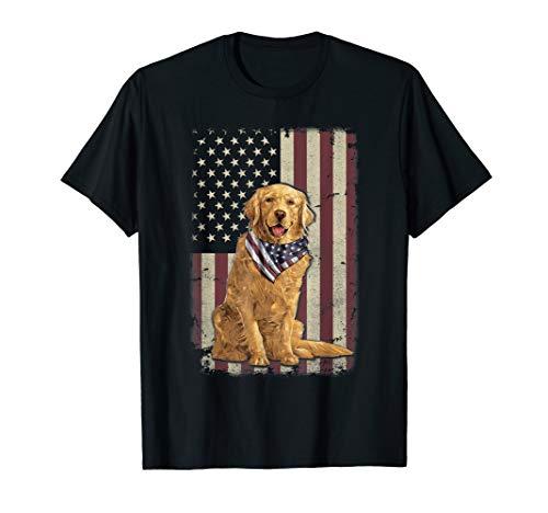 Golden Retriever American Flag Bandana 4th Of July Tshirt