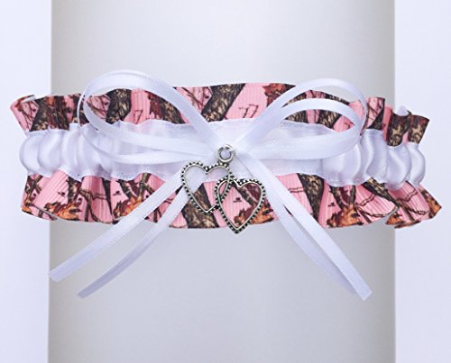 Pink Camouflage White Satin Camo Wedding Keepsake Bridal Garter - Double Heart Charm (Pink Camo Wedding Garters)