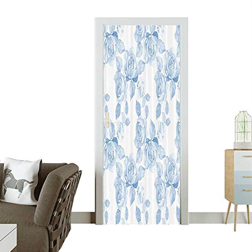 3D Photo Door Murals Faint ded Floral Dreamy Branch Plant shi Pastel Spring Home Easy to Clean and applyW35.4 x H78.7 ()