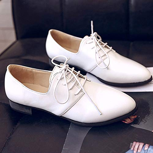 Lace FALAIDUO Shoes Up Flat Casual Solid Formal Leather Business Shoes Single Pointed Women's Ladies Imitation White Shoes Color UwxpqxCFS