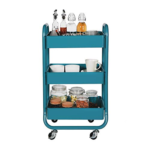 DESIGNA Metal Rolling Storage Cart 3 Tiers Utility Mobile Organization Cart with Handles Suitable for Office Home Kitchen or Outdoor, Turquoise ()