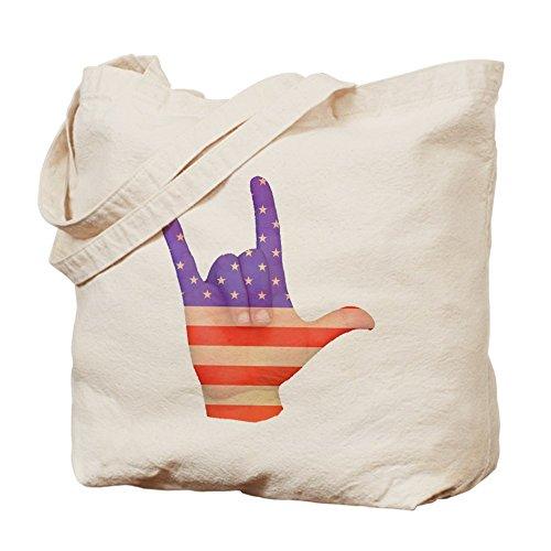 CafePress diseño de la bandera de Estados Unidos Ily lengua de señas mano–Gamuza de bolsa de lona bolsa, bolsa de la compra