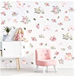 Watercolor-Pink-Flowers-Wall-Decal-Blooming-Peony-Floral-Flowers-Sticker-for-Girls-Bedroom-Wedding-Party-Decoration-56pcs-Colorful-Flowers
