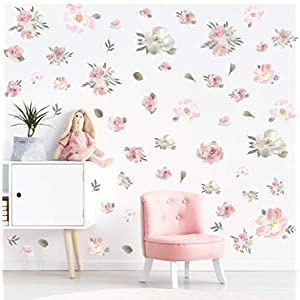 TOARTi Watercolor Pink Flowers Wall Decal, Blooming Peony Floral Flowers Sticker for Girls Bedroom Wedding Party Decoration (56pcs Colorful Flowers) 75