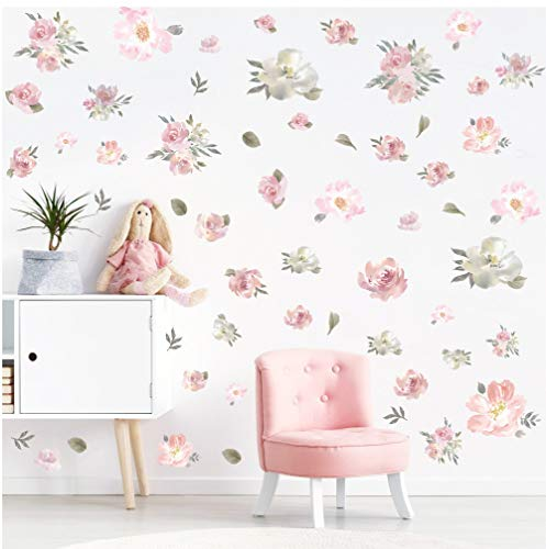 Floral Wall Decals - TOARTi Watercolor Pink Flowers Wall Decal, Blooming Peony Floral Flowers Sticker for Girls Bedroom Wedding Party Decoration (56pcs Colorful Flowers)