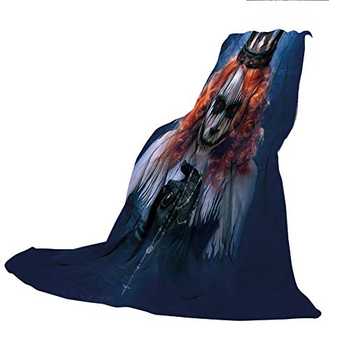 (SCOCICI Creative Flannel Printed Blanket for Warm Bedroom,Queen,Queen of Death Scary Body Art Halloween Evil Face Bizarre Make Up Zombie,Navy Blue Orange Black,47.25