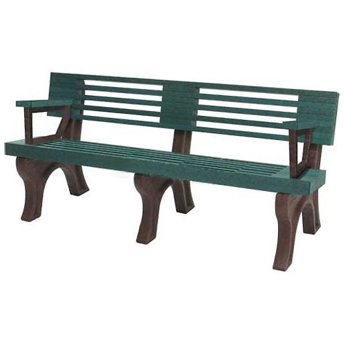 Elite 6 Ft. Backed Bench With Arms, Green Bench/Brown Frame