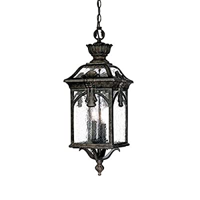 Acclaim 7126BC Belmont Collection 3-Light Outdoor Light Fixture Hanging Lantern, Black Coral