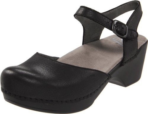 Dansko Women's Sam Ankle-Strap Clog,Black,38 EU/7.5-8 M US (Strap Womens Ankle Clog Casual)