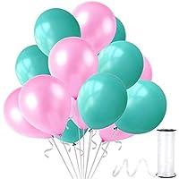 KullanAtParty Mint Su Yeşili-Bebek Pembesi Metalik Sedefli Balon 100 Adet