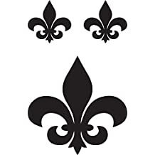 "FLEUR DE LIS 4"" TALL DECAL plus 2 small BLACK - manufactured & sold by EYECANDY DECALS only"