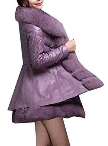 YYG Women Faux Fur Collar Winter Pu Leather Down Quilted Coat Jacket Outwear Purple M