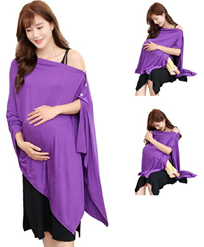 Purple Nursing Cover Poncho for Breastfeeding Nursing Shawl Cover Ups Maternity Pregnancy Poncho Adjustable Buttons Breathable Bamboo Perfect Gift Idea