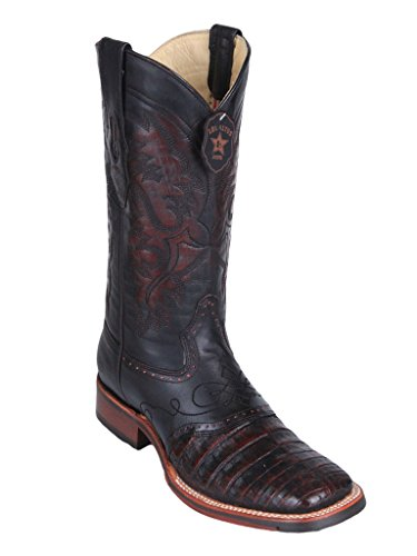 Men's Wide Square Toe with Saddle Black Cherry Genuine Leather Caiman Belly Skin Western Boots -