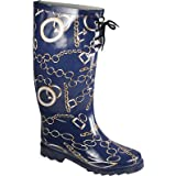 Sweet Beauty Women's Rubber Rain Boots Navy Chain Print Wr-9119