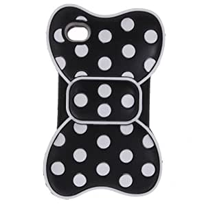 FiveBox 3d Dot Frame Bowknot Bow Butterfly Soft Silicon Case Cover for IPhone 4/4S - Black/White