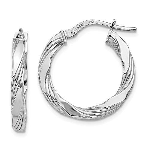 14K White Gold Twisted Textured Hoop Earrings