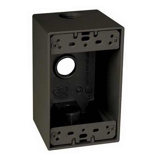 TayMac SD350Z Weatherproof Box, 1-Gang, (3) 1/2-Inch Outlets, Deep, Bronze