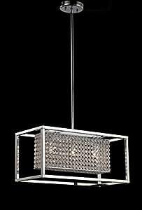 Amazon Deluxe Lamp Crystal Pendant Chrome 3 Light