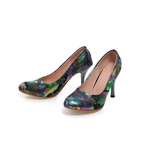 balamasa Mujer Animal-print high-heels imitado Piel pumps-shoes Negro - negro