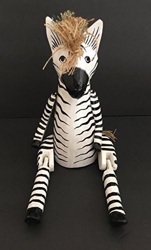 (OMA Zebra Statue Wooden Shelf Sitter with Dangling Legs Zebra Puppet - Large 15