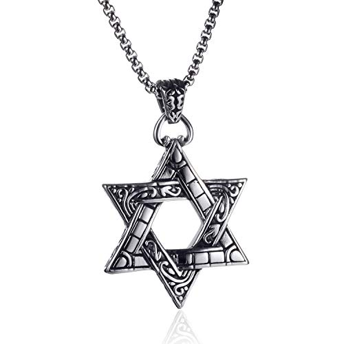 lemongo Star of David Pendant Necklace Stainless Steel Necklace Unisex, Rolo Cable Wheat Chain Necklace 24