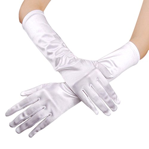 Gloves, Women Ladies Elegant White Stretch Plain Long Satin Gloves Evening Prom Party Wedding Bridal Gloves (Vintage White Glove)