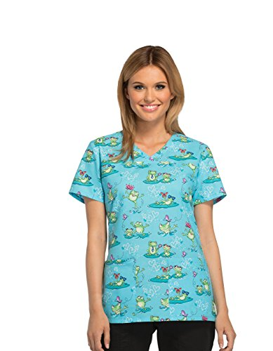 Fashion Prints By Cherokee Women's V-Neck Frog Print Scrub Top Medium Print