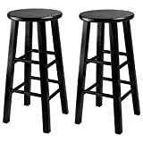 Winsome Wood 24-Inch Square Leg Counter Stool, Black, Set of 2