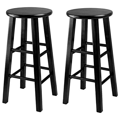 Winsome 24-Inch Square Leg Counter Stool, Black, Set of 2 (Wooden Stools Bar Breakfast)